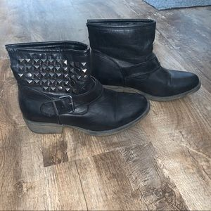 Black studded ankle boots by MIA